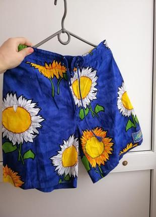 Шорты короткие синие желтые цветочный принт