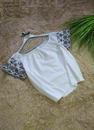 Топ блуза  прошва вышивка h&m p xs