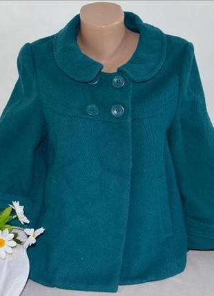 Брендовое бирюзовое шерстяное демисезонное пальто полупальто с карманами atmosphere