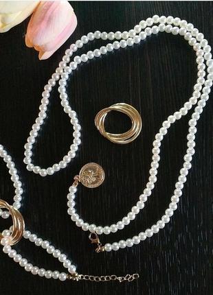 Набор жемчуг браслет ожерелье на шею