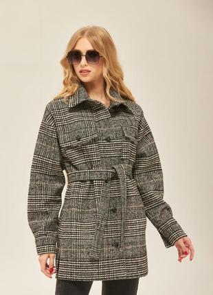 Пальто-рубашка в клетку натуральная шерсть!!!