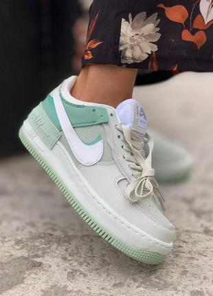 Кроссовки nike air force shadow green mint мятный цвет (36-40)💜
