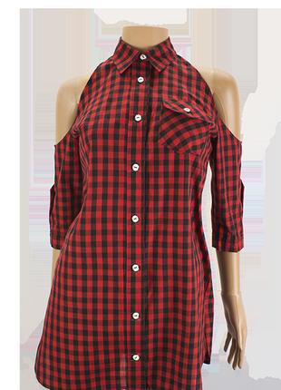 Блуза без плеч, красная клетка