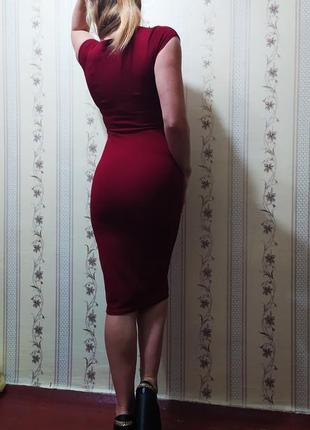 Плаття за коліно, в горизонтальний  рубчик, плотна тканина, тягнеться