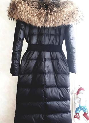 Крутой длинный пуховик пальто плащ  с шикарным мехом енот экслюзив