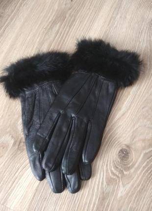 Перчатки кожаные, натуральная кожа, мех кролика