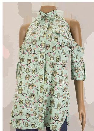 Блузка без плеч, мятные совы