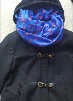 Шарф в подарунок!пальто коротке з капюшоном на блискавці плащик куртка