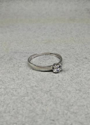 Кольцо белое золото 585 куб. цирконий сваровски, помолвочное кольцо с одним камнем
