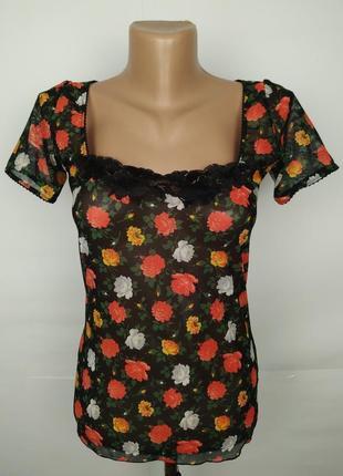 Блуза легкая сеточка в розы стильная оригинал dolce & gabbana uk 8-10/s
