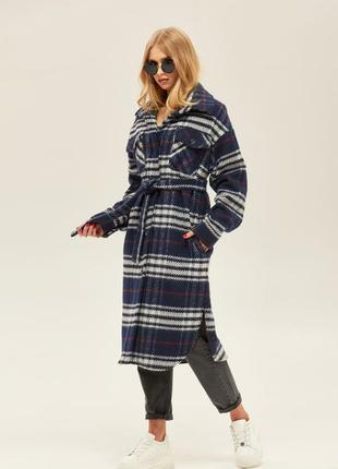 Деми пальто-рубашка из клетчатой шерсти