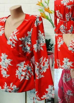 Нарядная блуза на запах в цветочный принт