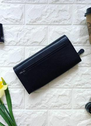 Черный кошелек клатч кожа