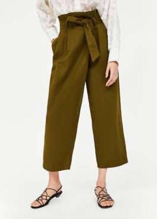 Широкие брюки /кюлоты /штаны/палаццо zara хаки
