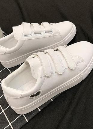 15-23 белые кеды на липучках женские білі кеди жіночі