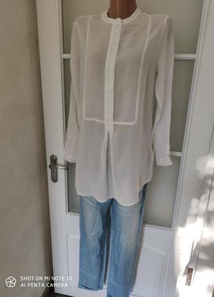 Блуза белая воротник стойка