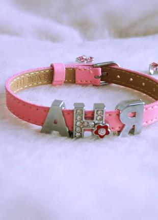 Кожаный браслет с именем аня