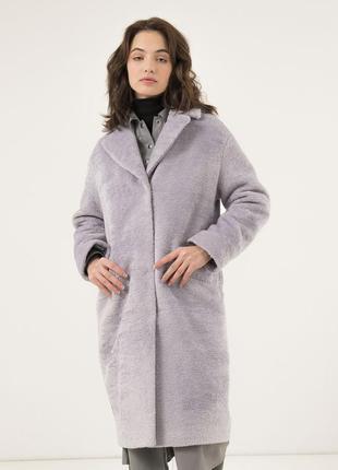 Зимнее женское пальто season глория альпака светло-серое