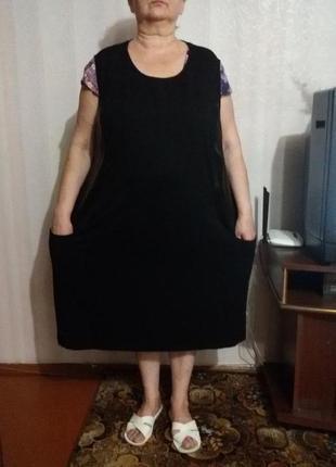 Сарафан или туника с карманами и кожаными вставками (пог- 74см+)