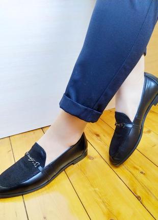 Туфли лоферы черные кожаные, классическая модель