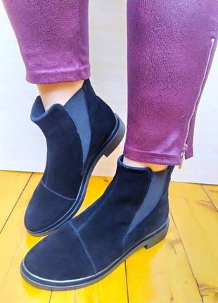 Ботинки челси черные замшевые