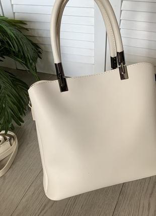 Женская стильная сумка три отделения крем эко.кожа