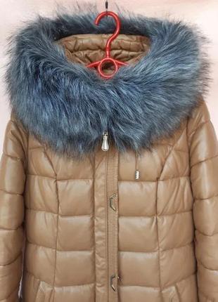 Зимнее пальто/длинная куртка quiiet poem темно-бежевого цвета,  р. s(идет на xs)