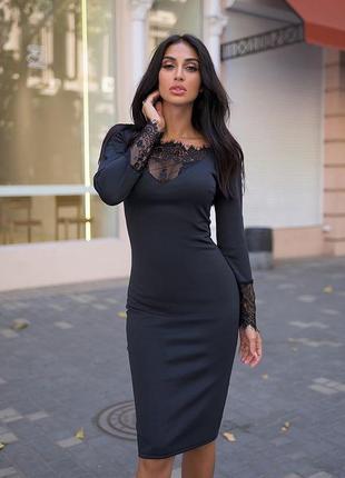 Платье миди черное с кружевом