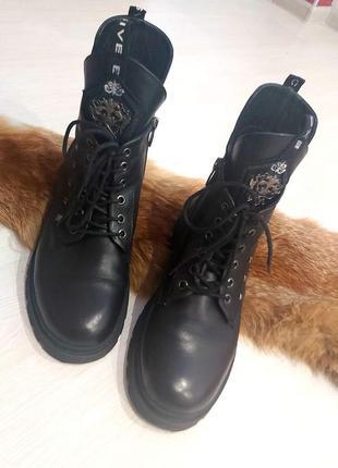 Кожанные крутые зимние ботинки evromoda