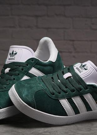 Кроссовки кеды adidas gazelle зеленые