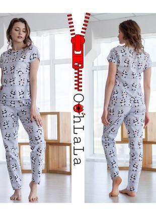 Трикотажные пижама комплекты футболка штаны принт панды