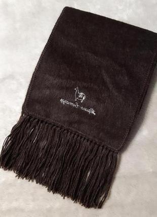 Шерстяной шоколадного цвета длинный мягкий шарф женский мужской унисекс 100% альпака