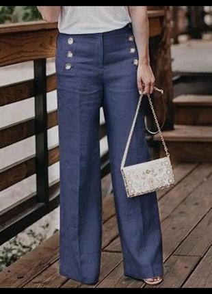 Джинсы штаны повседневные m&s джинси широкие с высокой посадкой