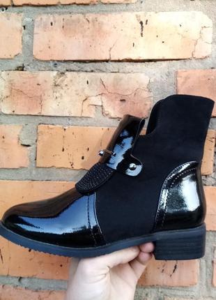Осенний ботинок, лак + заменитель