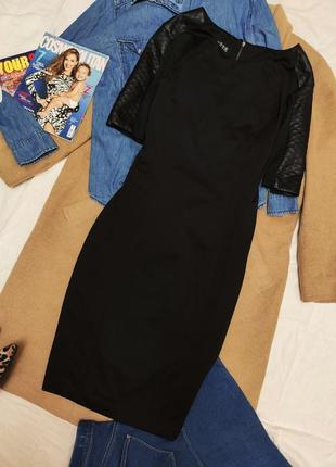 Atmosphere платье чёрное миди по фигуре прямое с встакэвками эко кожи карандаш футляр