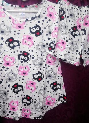 Домашняя пижама коты котики футболка шорты хлопковая пижамка