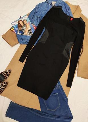 Miss captain чёрное классическое вечернее хлопковое платье с прозрачными рукавами