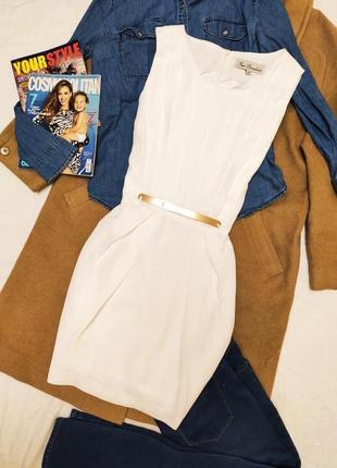 True decadence платье белое с золотой пряжкой на поясе на подкладке классическое