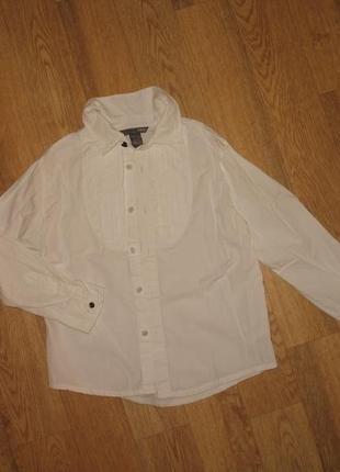 Рубашка белая с длинным рукавом на 7 лет