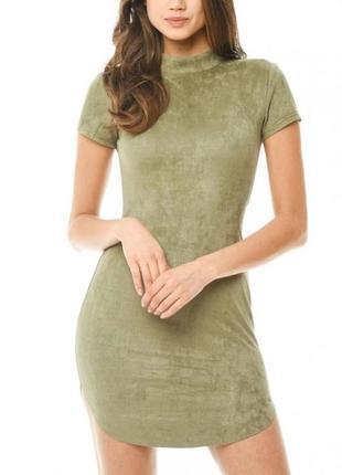 Ax paris платье хаки замшевое по фигуре