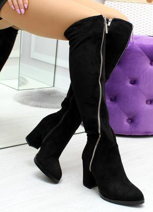 Модные черные замшевые высокие сапоги ботфорты на удобном каблуке