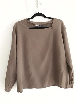 Шелковая винтажная блуза-пиджак кофейного цвета, celine jil sander cos