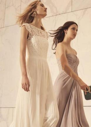Шикарное свадебное, подвенечное, вечернее, выпускное макси платье плиссе h&m