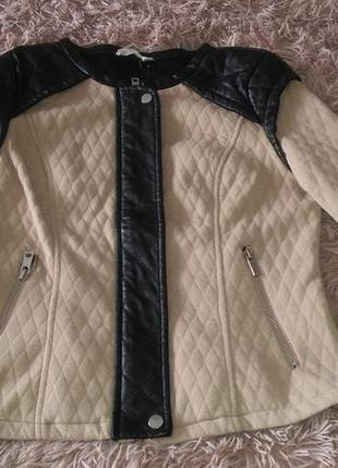 Тканевая куртка косуха с кож вставками s