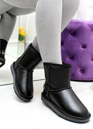 Модные средние черные угги из натуральной кожи зима