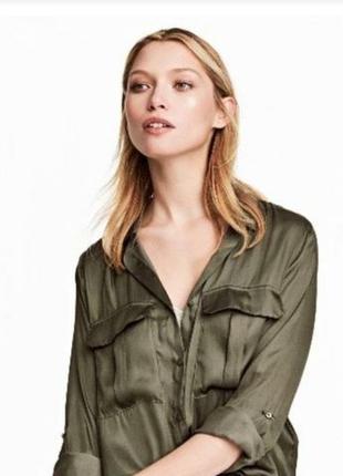 Новая с этикеткой рубашка тонкий атлас накладные карманы размер 12 river island