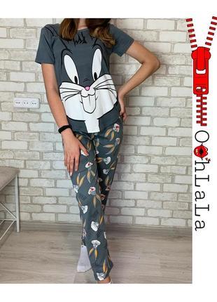 Трикотажные пижама комплекты футболка штаны кролик бакс банни