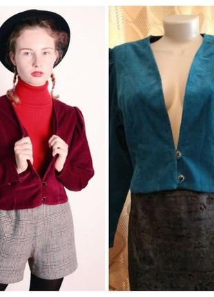 Стильный вельветовый пиджак, жакет, винтажный стиль, бирюзовый