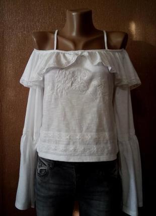 Блуза на бретельках рюши,вышивка,кружево длинный рукав хлопок размер 8-10 topshop