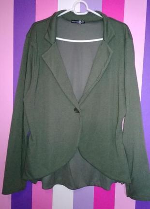 Стильный пиджак, блейзер цвета хаки, большого размера 22uk